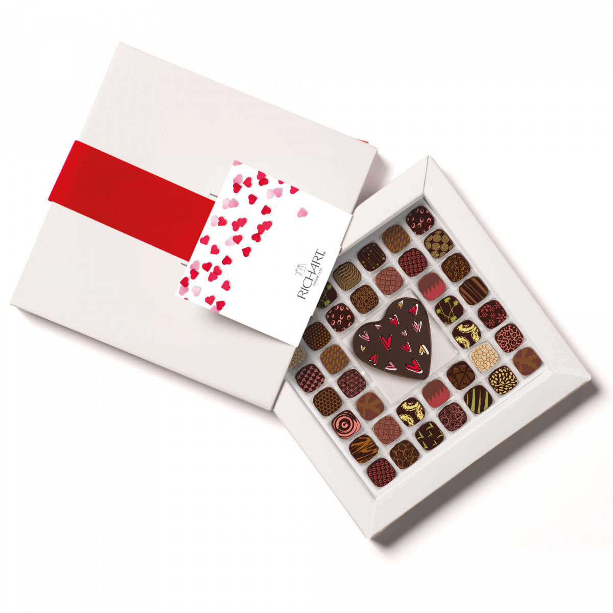 RICHART Chocolates - Intense Love assortment of filled chocolates and Heart shape morsel