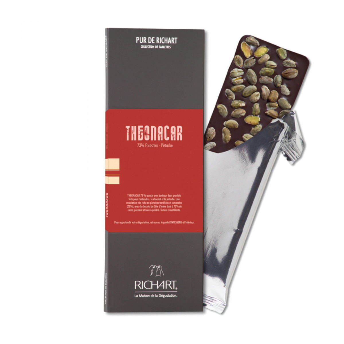 Theonacar Dark chocolate bar with pistachios