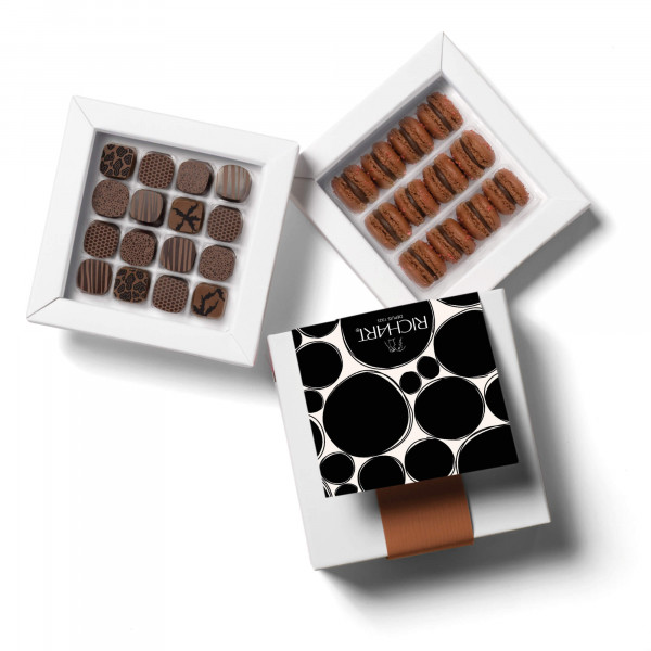 Ebony dream Box of fchocolates and French macarons