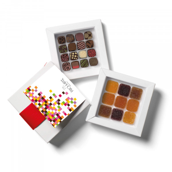 Pixel Box of chocolates and French Pates de fruits