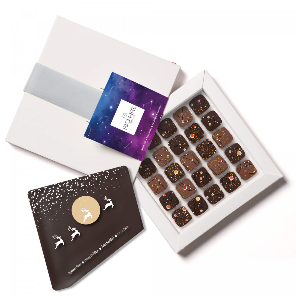 Constellations coffret 25 chocolats + 1 plaque message en chocolat