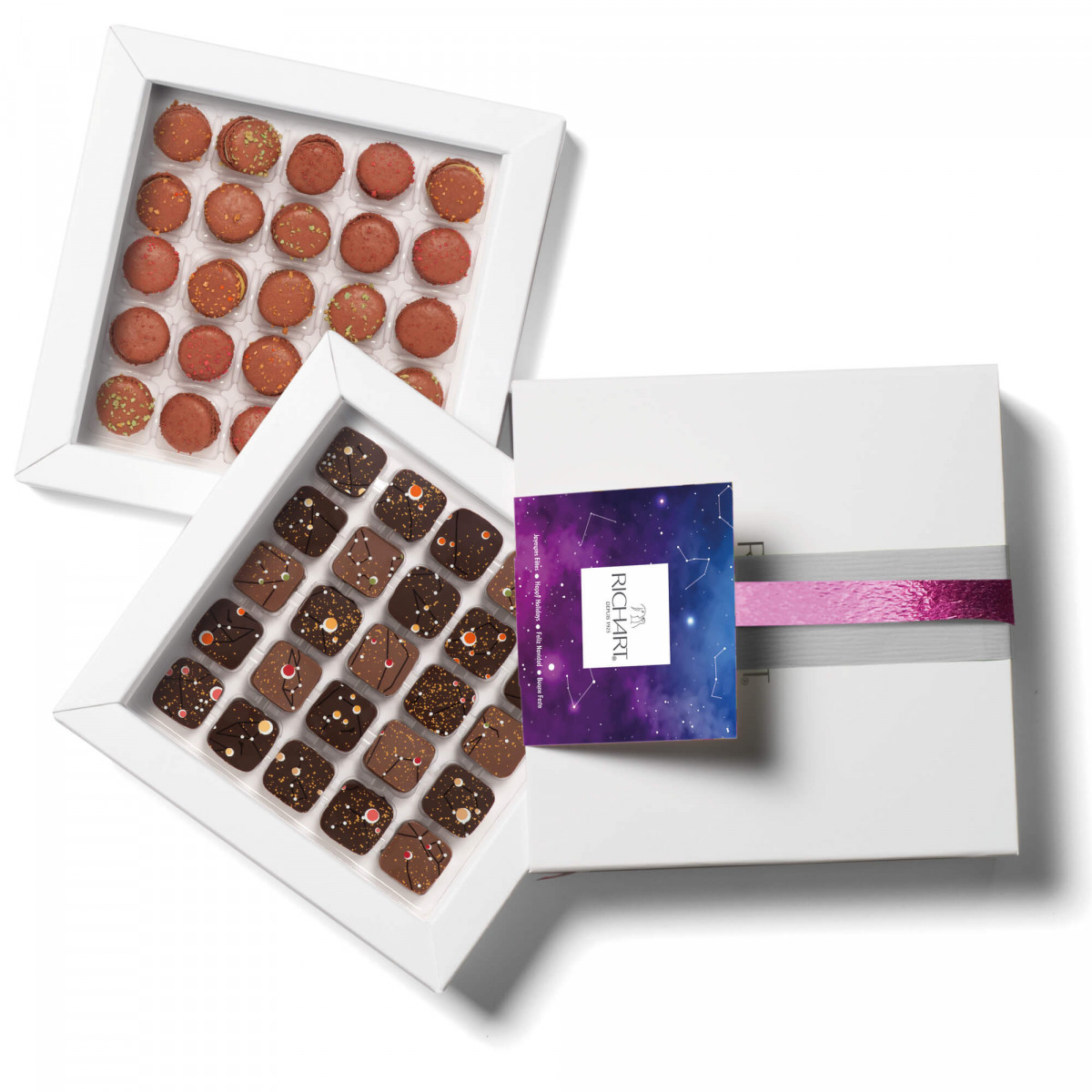 Constellations célestes coffret chocolats et mini macarons