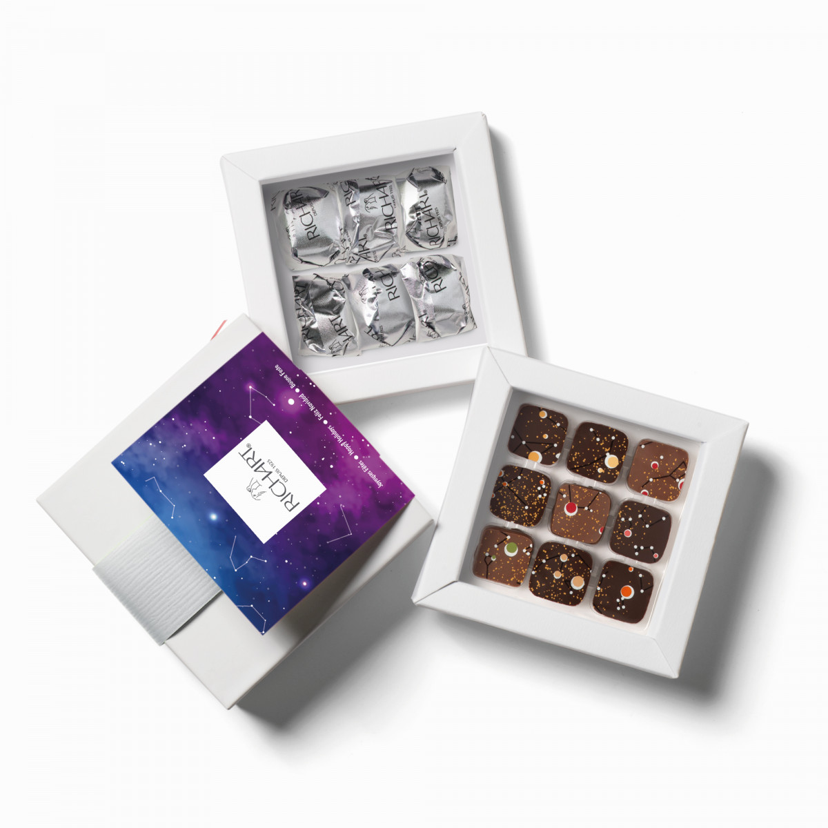 Constellations Pétillantes assortiment chocolats fourrés et marrons glacés PM