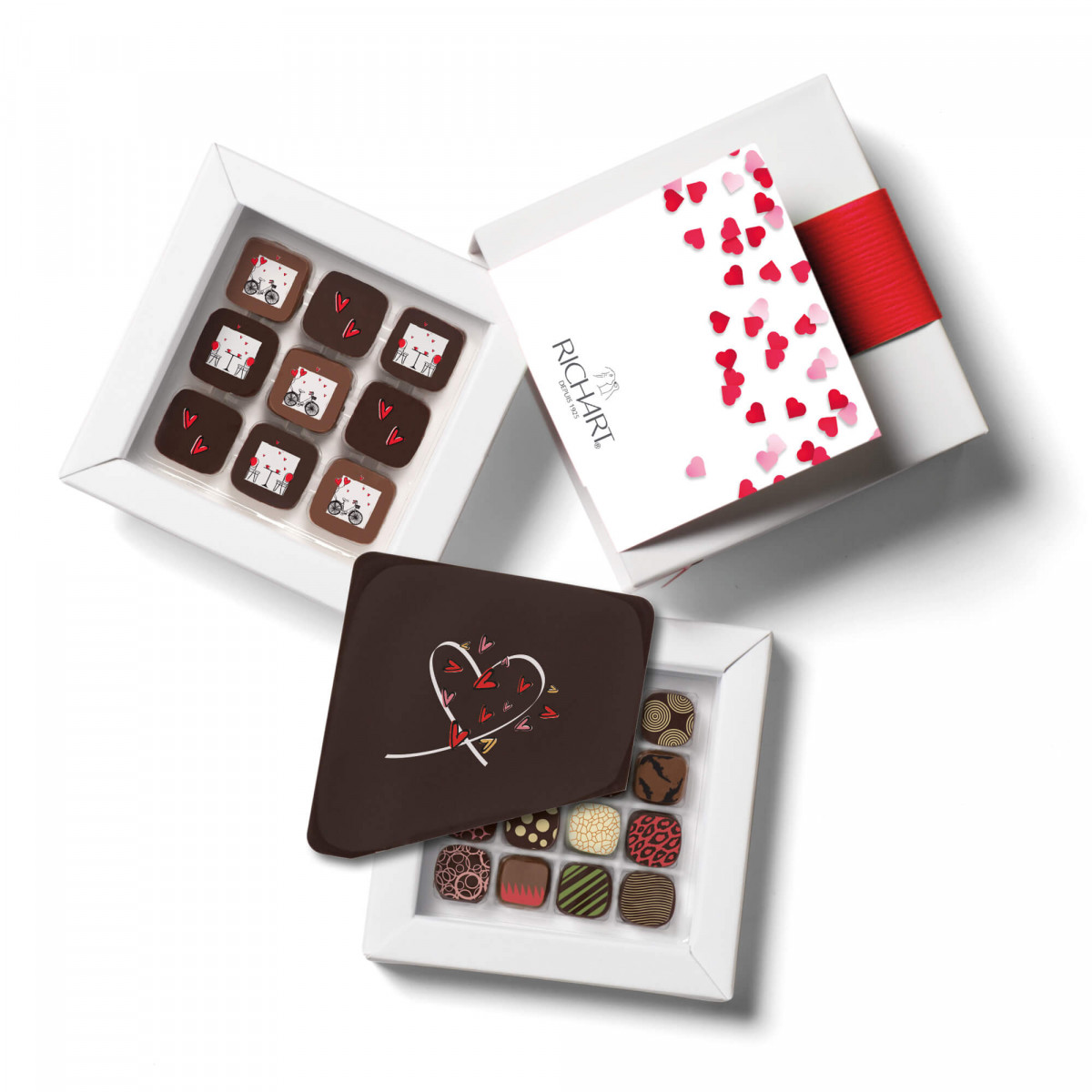 Chocolats RICHART - Coffret Arty : chocolats Saint-Valentin, 12 chocolats Petits Richart et plaque en chocolat