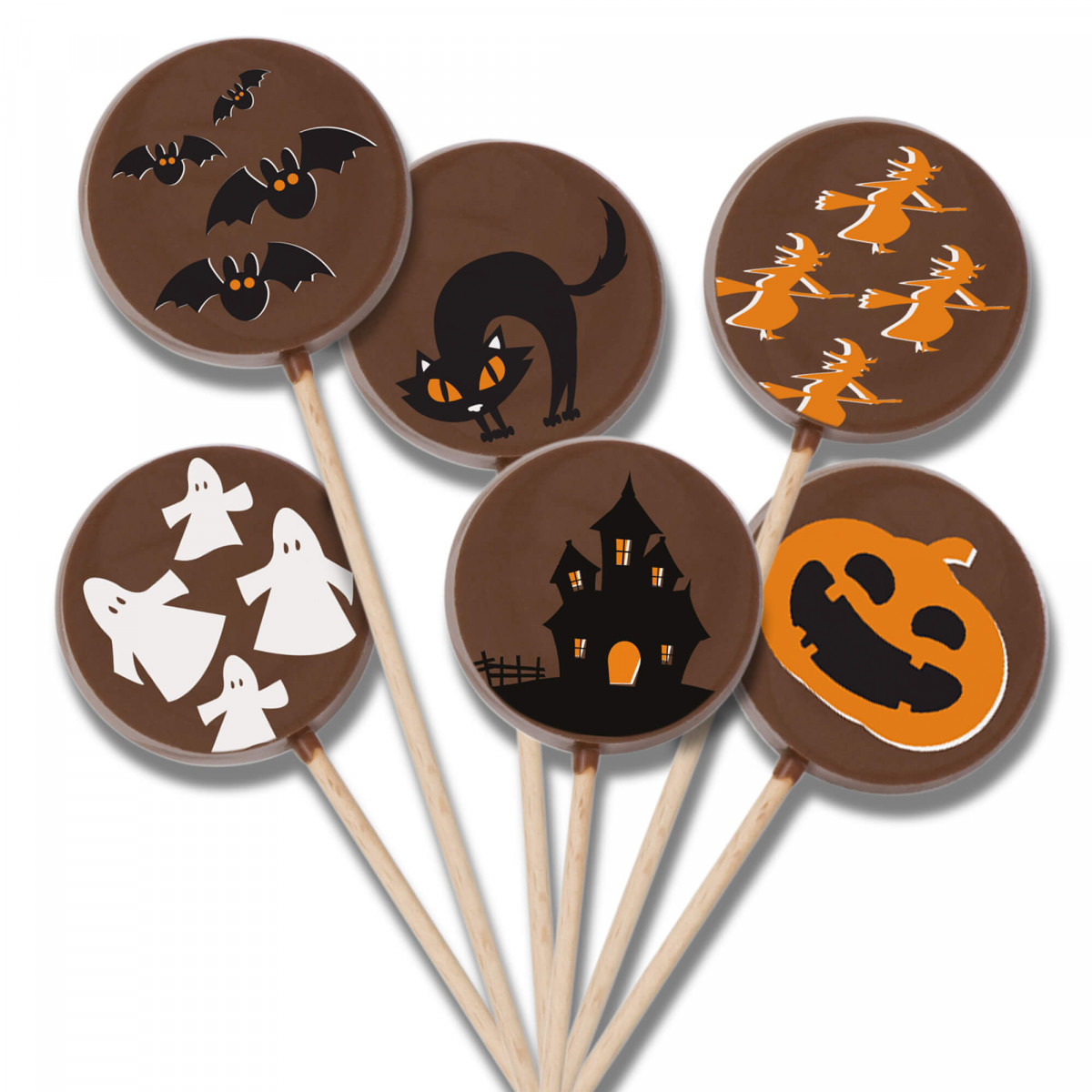 Samain lot 6 sucettes chocolat au lait Halloween