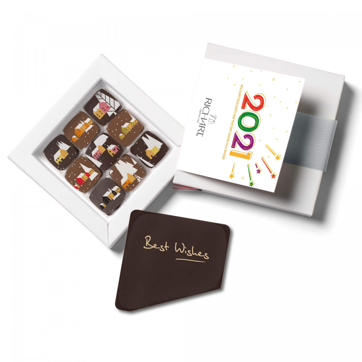 Best Wishes - Personalized gift box of 9 Happy Holidays filled chocolates and its Best Wishes chocolate message card