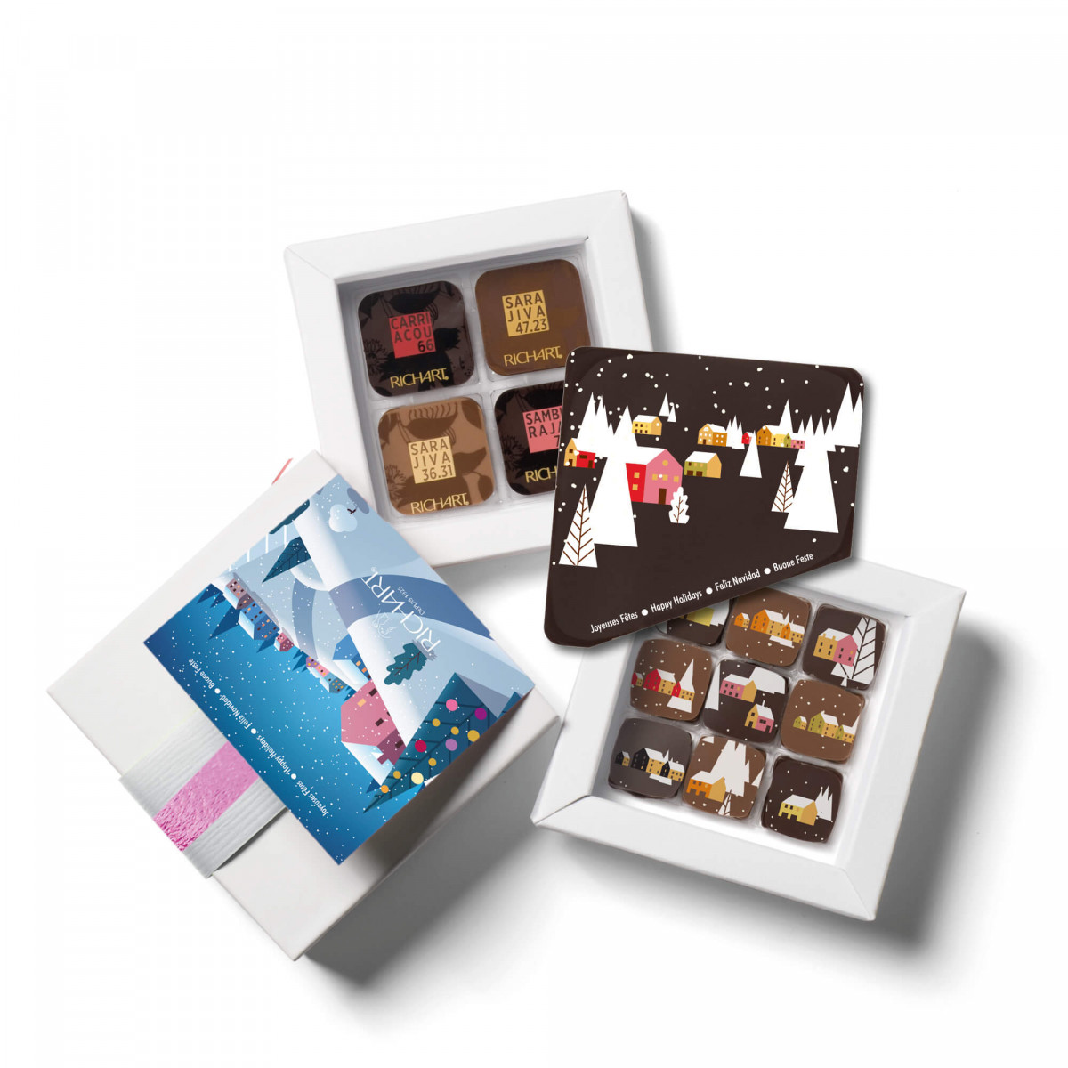 Box of 9  filled chocolates, 16 solid chocolates and its Happy Holidays chocolate card