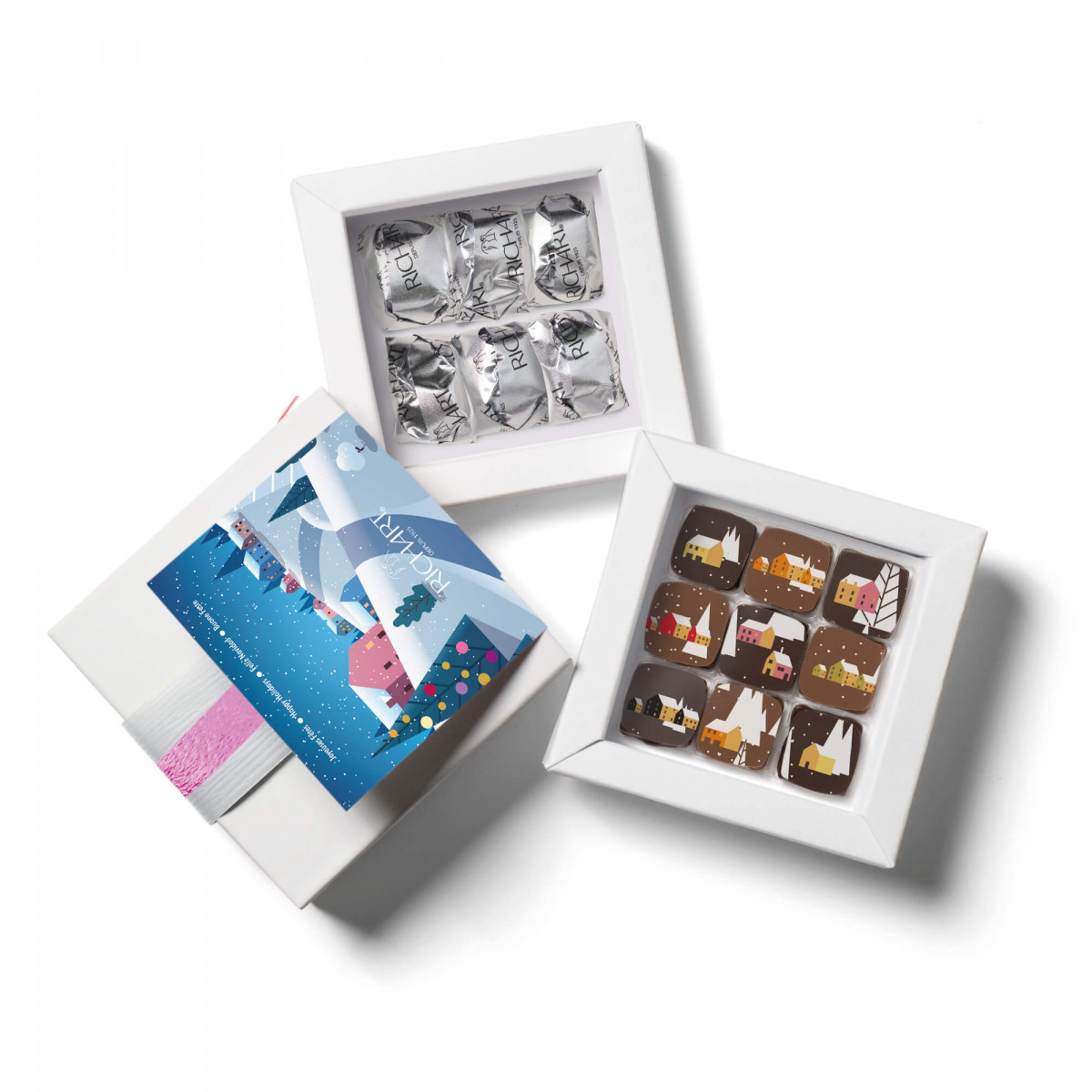 Frosty Holidays box of 9 Holidays chocolates and 6 glazed chestnuts