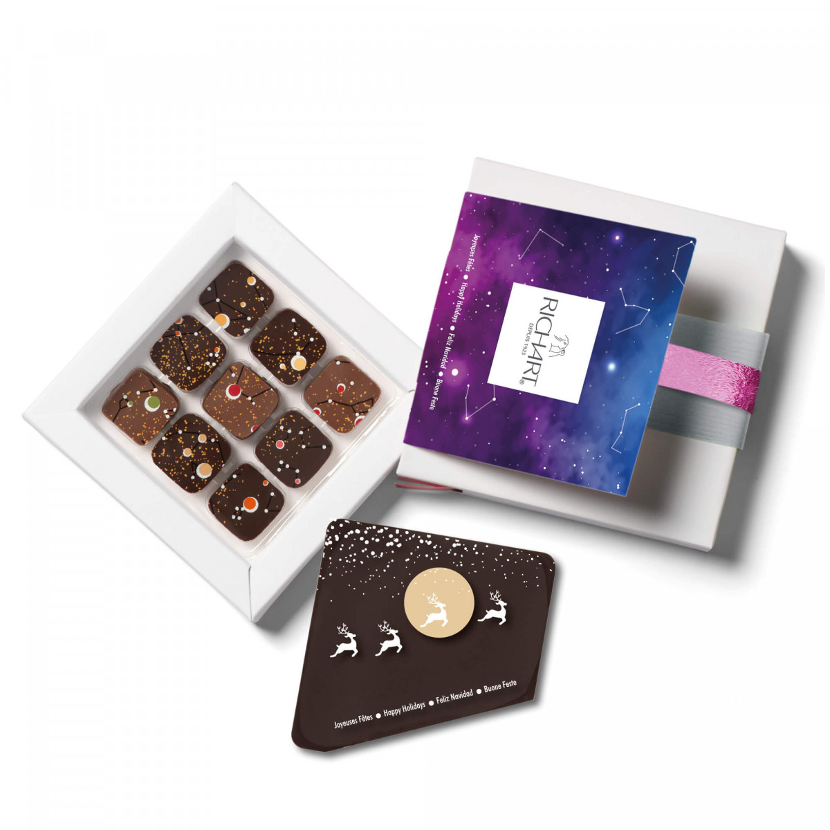Constellations Messager Holidays Box of 9 filled chocolates