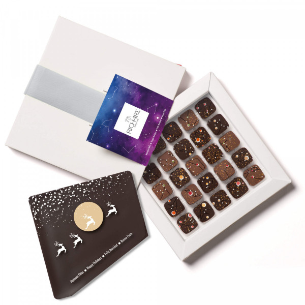 Constellations Holidays Box of 25 filled chocolates chocolate card