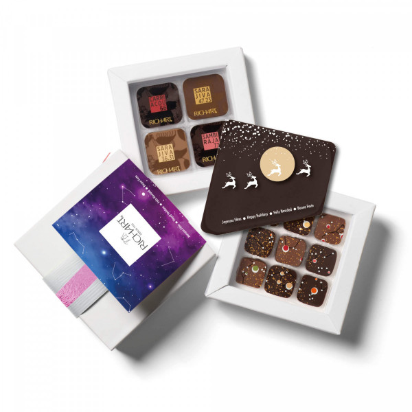 Scrumptious Holidays - Solid and filled dark chocolate gift (small)