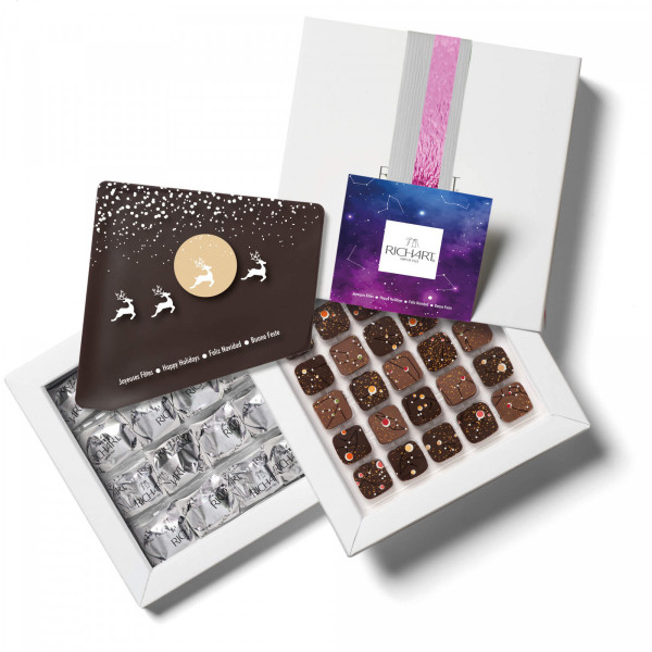 Sparkling Constellations filled chocolates and glazed chestnuts gift box - large