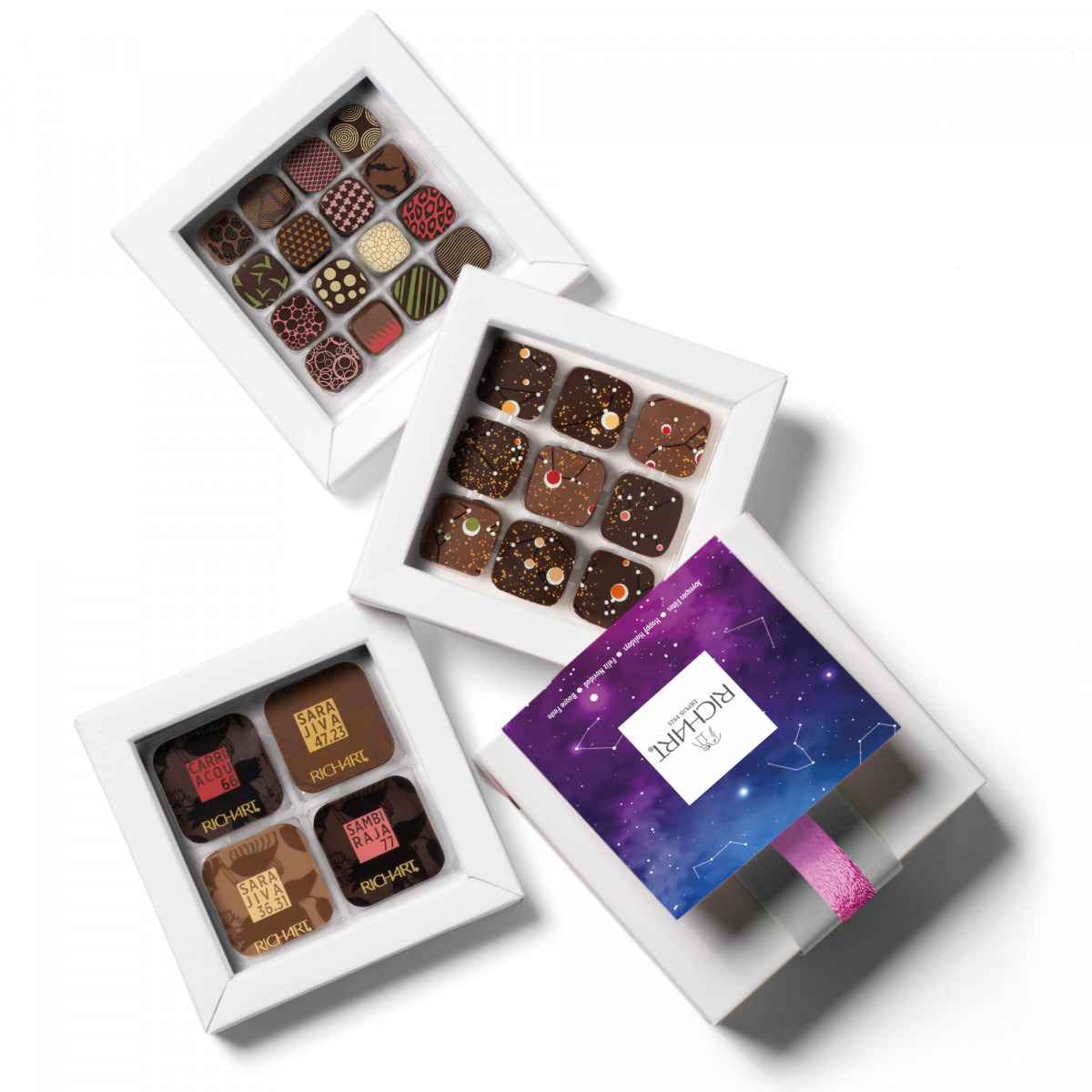 Constellations Initiation Solid and filled dark chocolate gift (small)