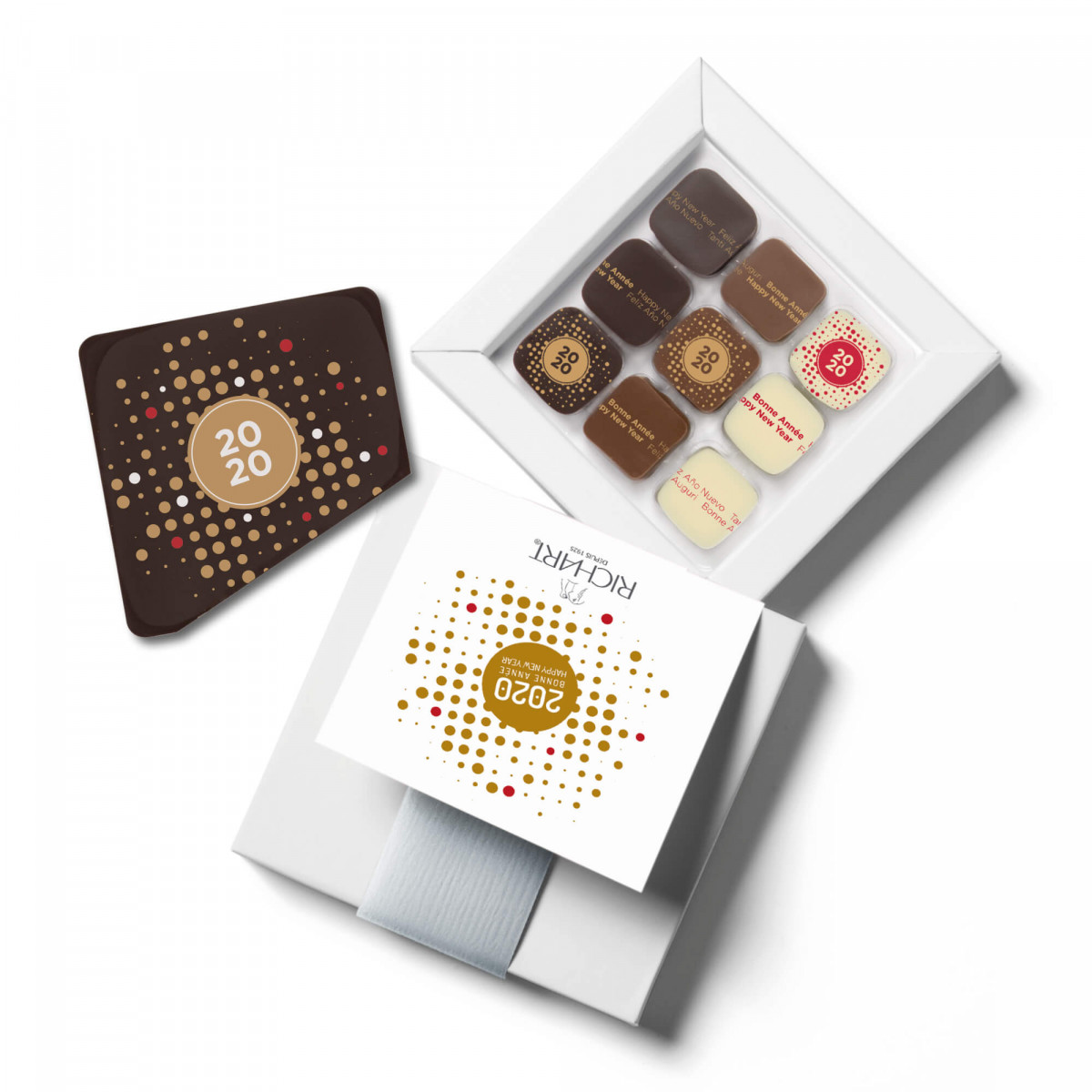 Constellations Best Wishes box of 9 filled chocolates and Best Wishes chocolate card
