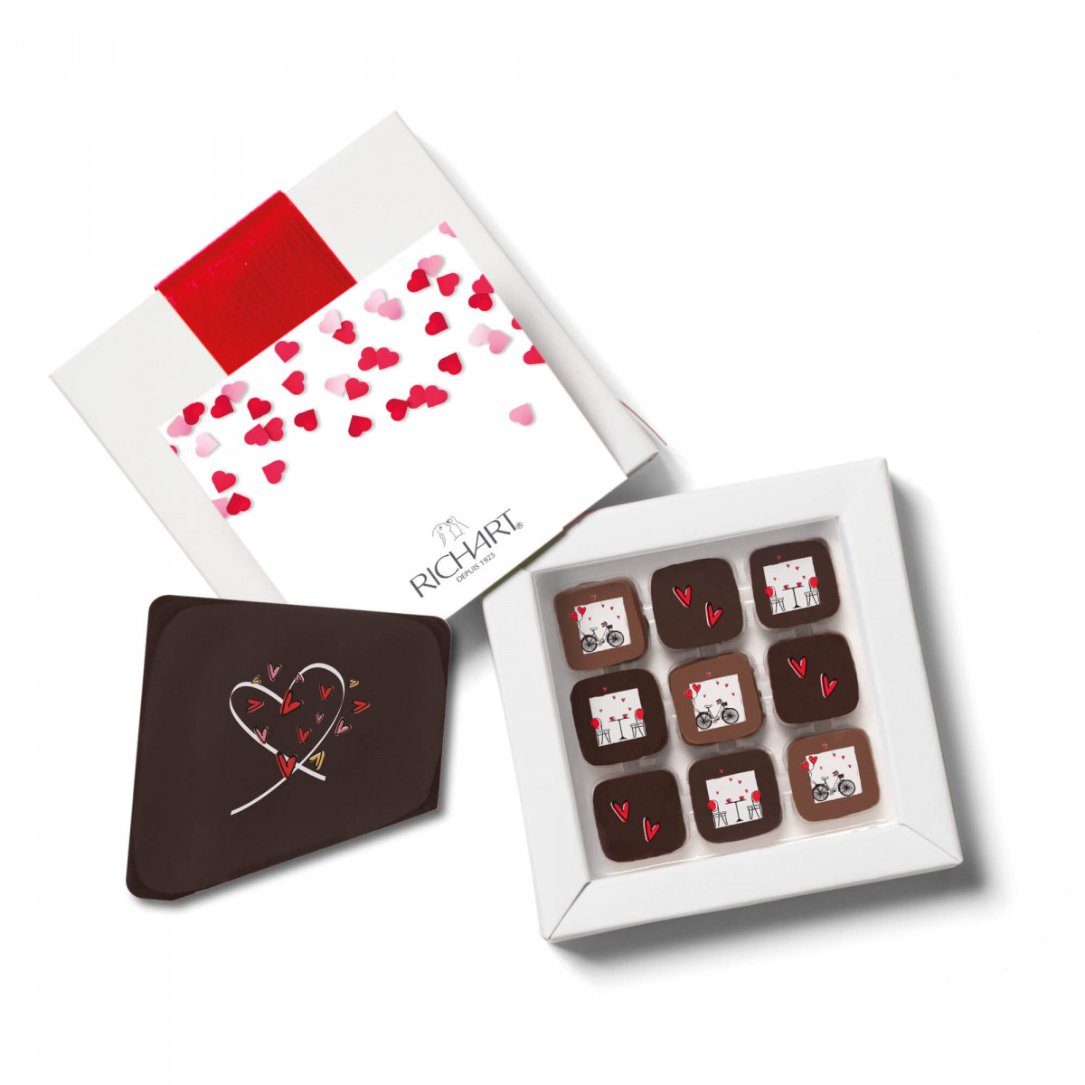 "RICHART Chocolates - Romance Box with 9 Valentine's Day filled chocolates and ""Je t'aime"" message card"