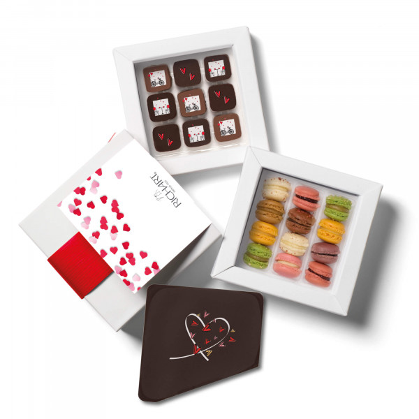 Love at First Sight Box with 9 Valentine's Day filled chocolates, 12 french macarons and a message card made of chocolate