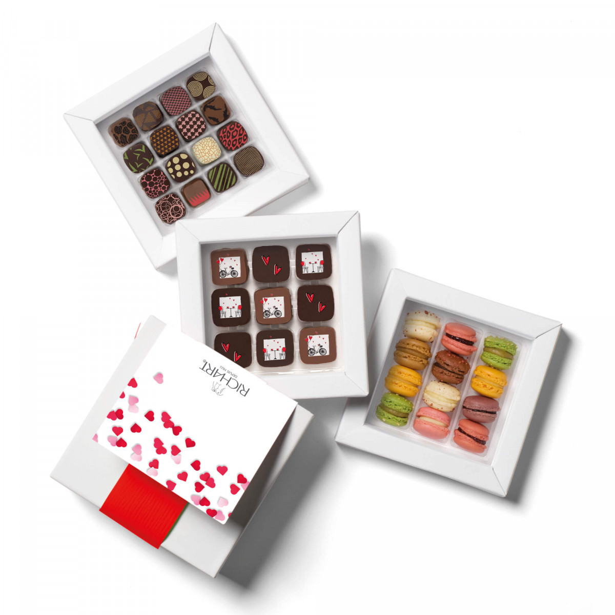 RICHART Chocolates - Be-Bop Box with 9 Valentine's Day filled chocolates, 12 French macarons and 16 Petits RICHART chocolates