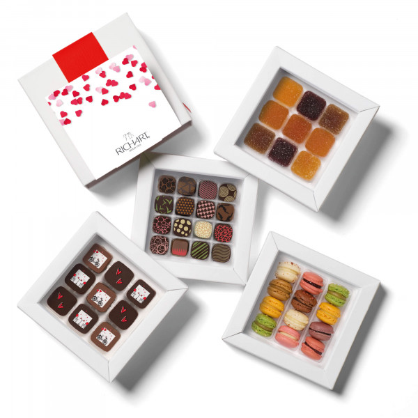 All Night Long Box assortment of Valentine's Day filled chocolates, French macarons and French pâtes de fruits.