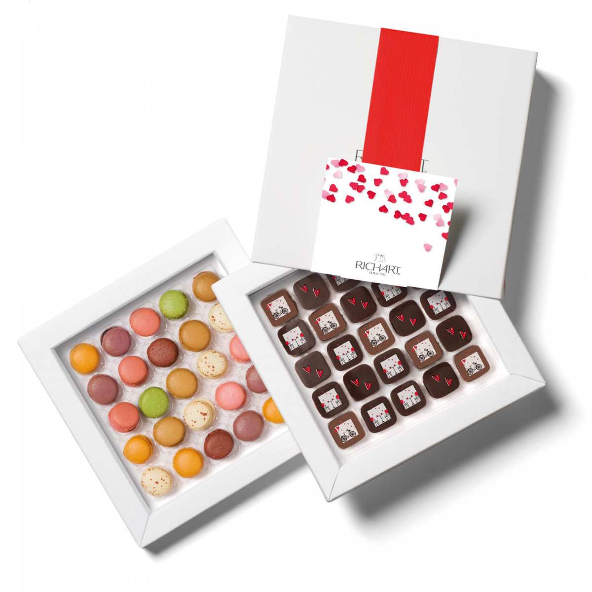 RICHART Chocolates - Love at First Sight Box with 25 Valentine's Day filled chocolates and 25 mini-macarons