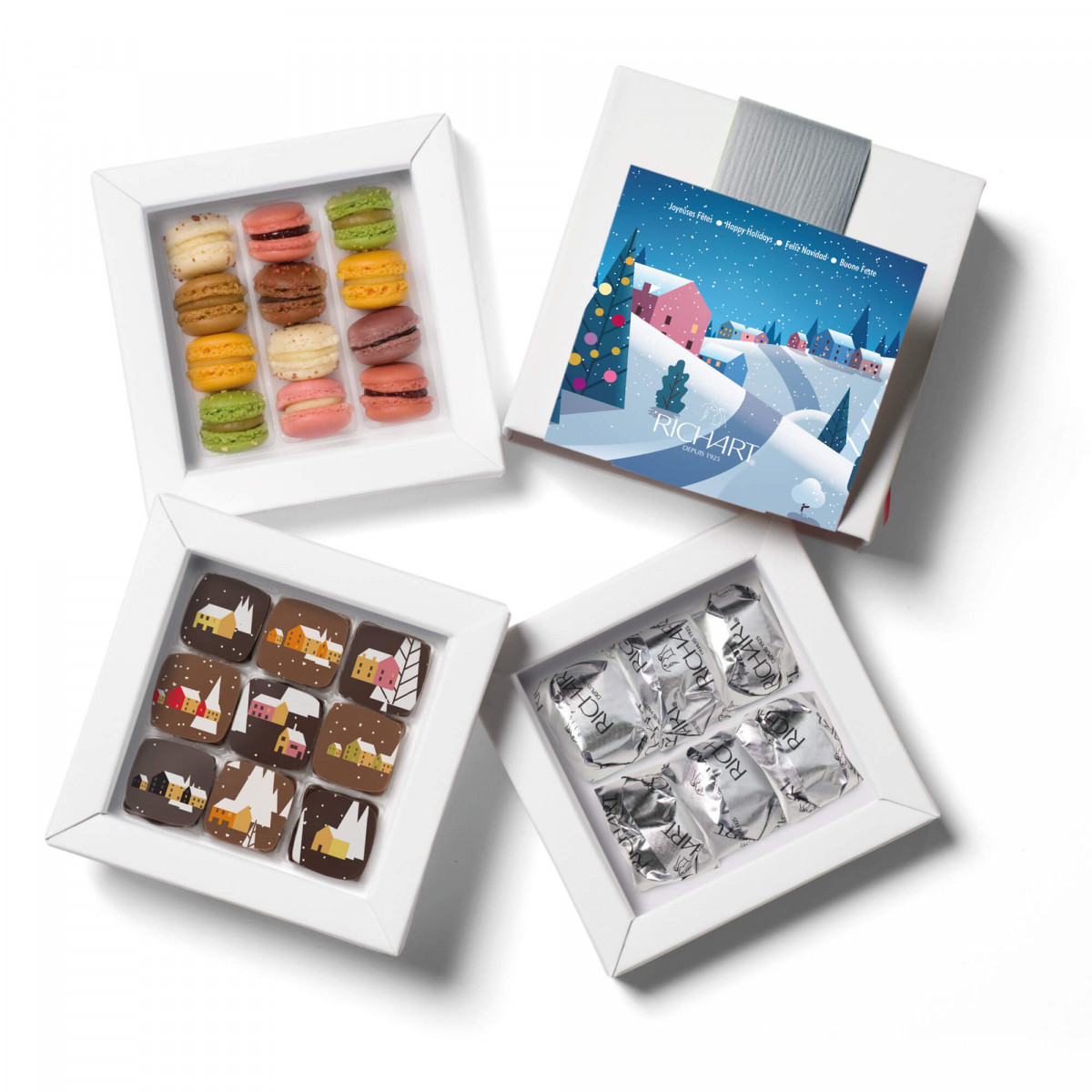 Iconic Winter - Gift box of 9 filled chocolates, 12 French mini-macarons and 6 glazed chestnuts