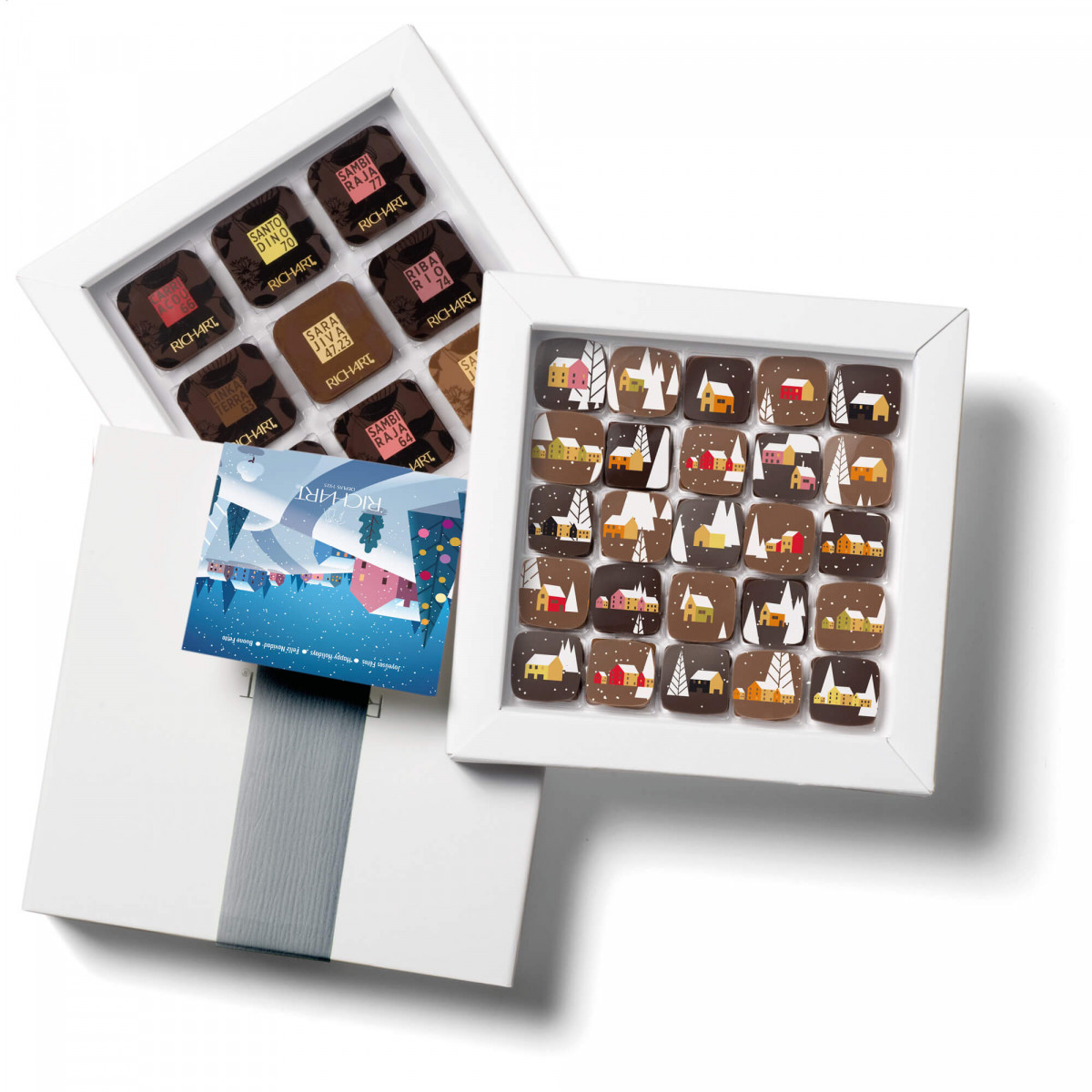 Box of 25 filled chocolates and 32 solid chocolates