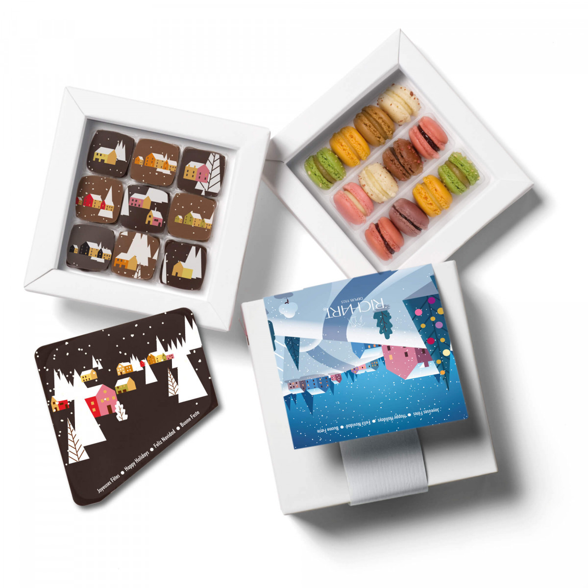 Box of 9 filled chocolates, 12 French mini-macarons and 1 Happy Holidays chocolate message card