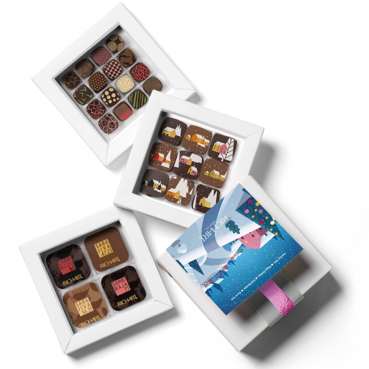 Intense Holidays - Personalized gift box of filled chocolates (small)