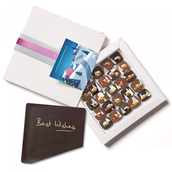 Best Wishes - Personalized gift box of 25 Happy Holidays filled chocolates and 1 Best Wishes chocolate message card