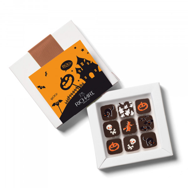 Box of 9 filled chocolates for Halloween