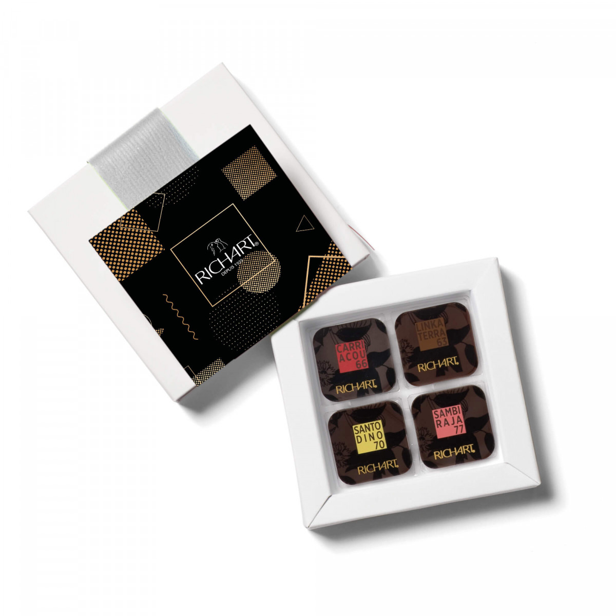 On the road of cocoa Box of 16 dark chocolate