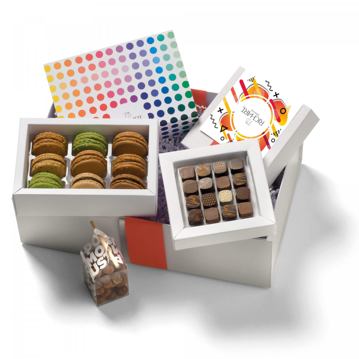 In the kingdom of the Roasted Chocolates and French macarons Gift basket