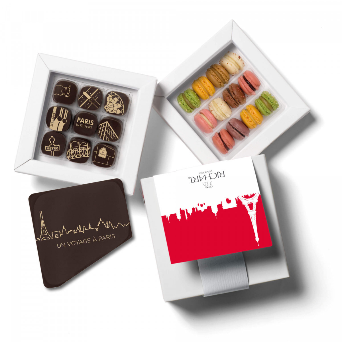 Souvenir from Paris Box of chocolates and French Macarons