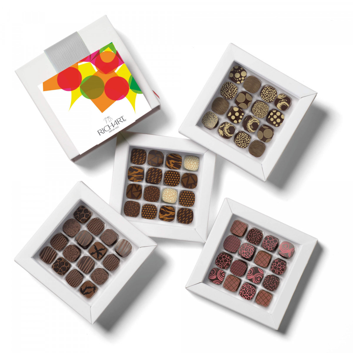 Kaleidoscope Box of 64 filled chocolates