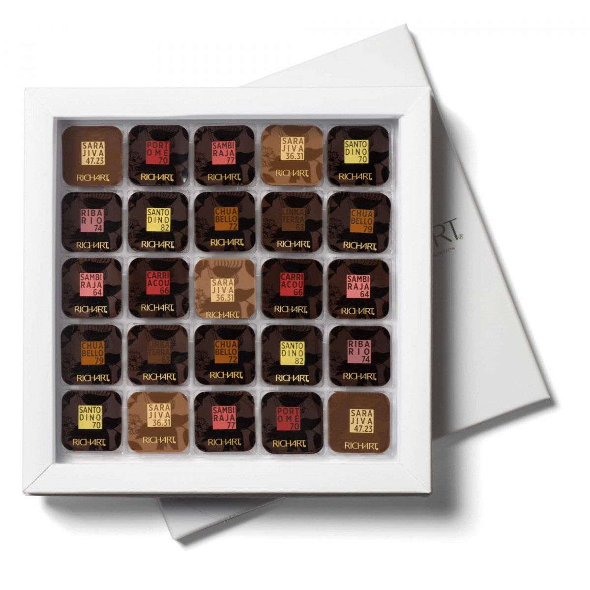 Cocoa passion Box of 100 squares dark and milk chocolate