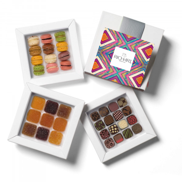 Mosaic Box of chocolates French pates de fruits and macarons